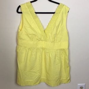 NWT GAP Yellow Lace Detail Sleeveless Top Sz 18